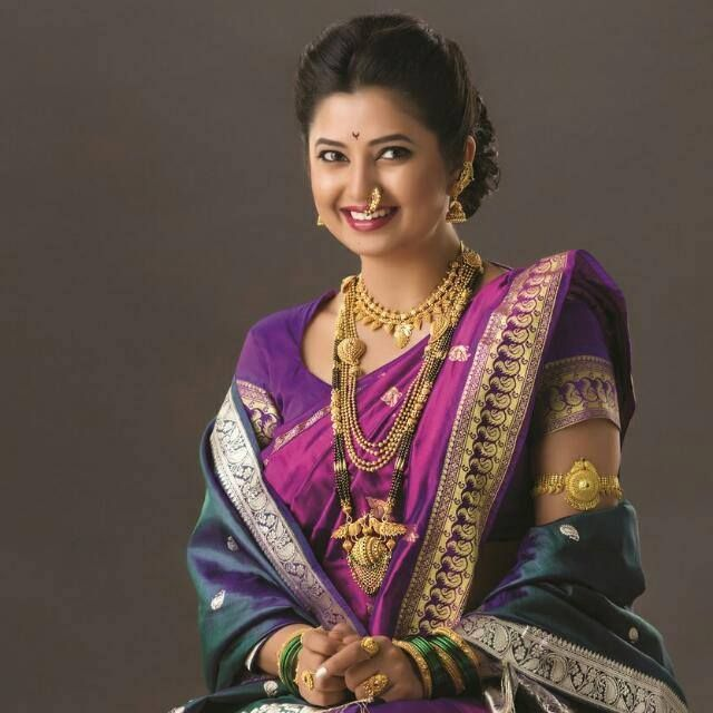 Maharashtrian Look with Gorgeous Purple Silk Saree and Gold Jewelry