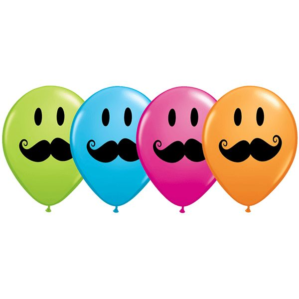 Printed Latex Smiley Moustache Balloon in Multiple Colors 11in 50ct | Wally's Party Supply Store