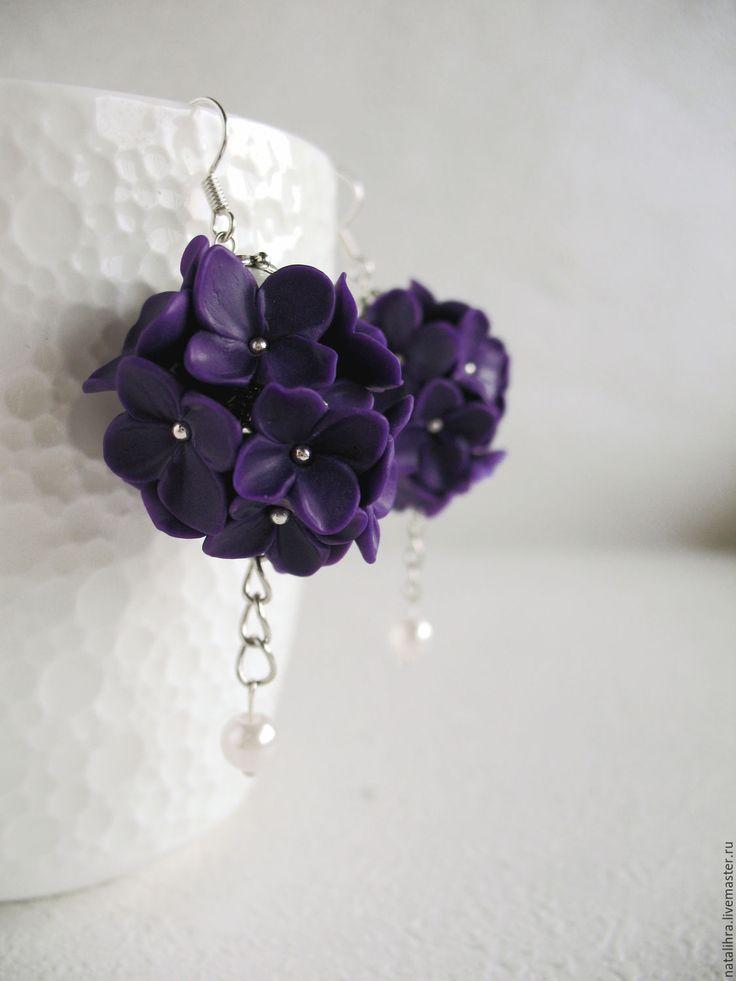 Купить Роскошь сирени Фиолетовые серьги ручной работы Полимерная глина Вечер