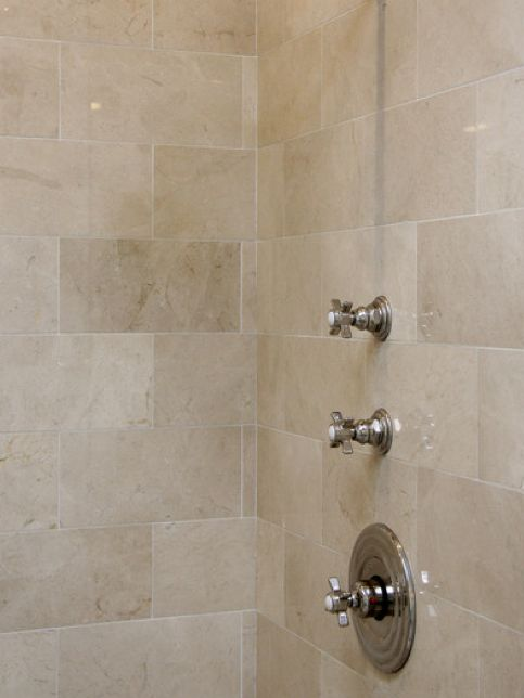 master bathroom crema marfil 6x12 honed shower walls and wainscot