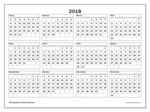 Calendario 2018 (34LD). Calendario imprimible gratis.