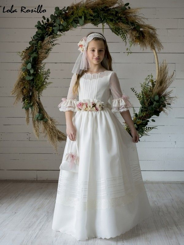 Vestido Comunión Lola Rosillo Modelo Q439 Vestidos Comunion Niña Vestidos De Comunión Vestido Floral Para Chicas