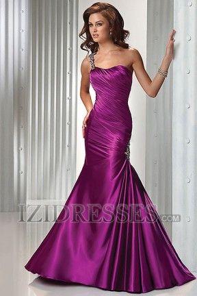 Sirena Un Hombro Satén Elástico Tejido Vestido de Noche