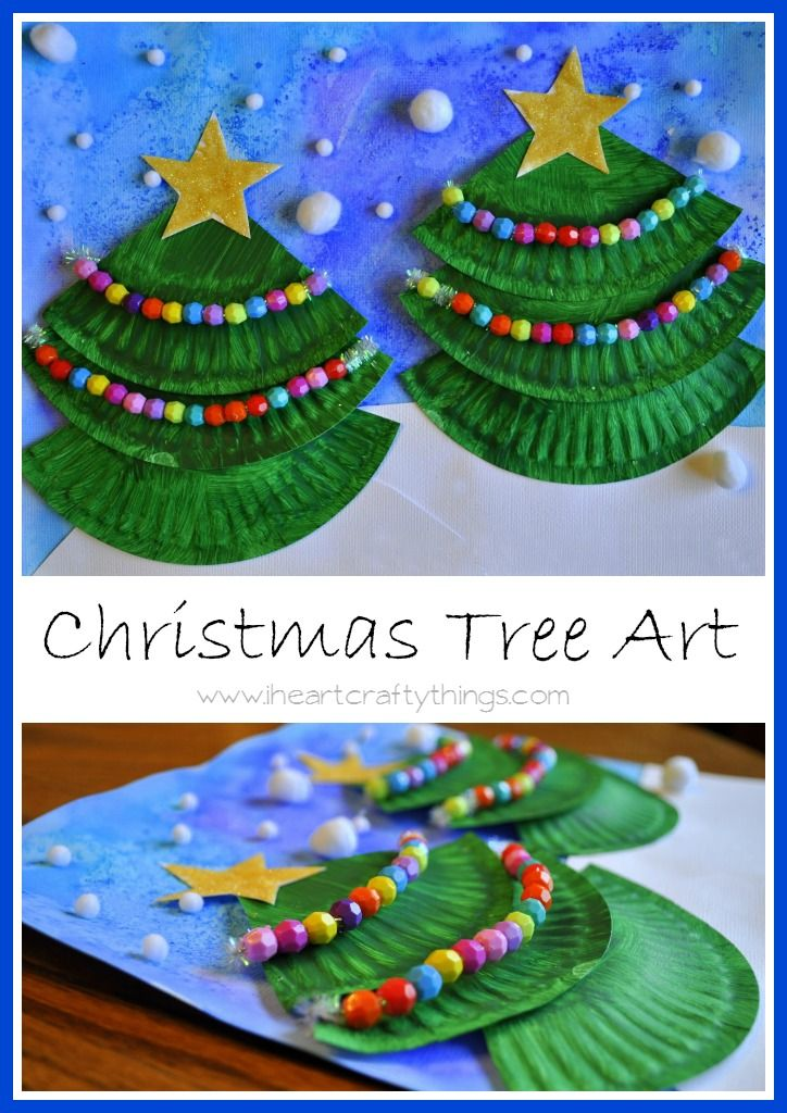 Christmas Craft for Kids | Make this textured Christmas Tree Art with paper plates and pony beads. | Read the details on I Heart Crafty Things.