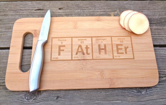 HAND MADE IN THE USA By Creative Butterfly XOX A Stylish yet functional BAMBOO cutting board, with a FATHER Periodic Element Table design