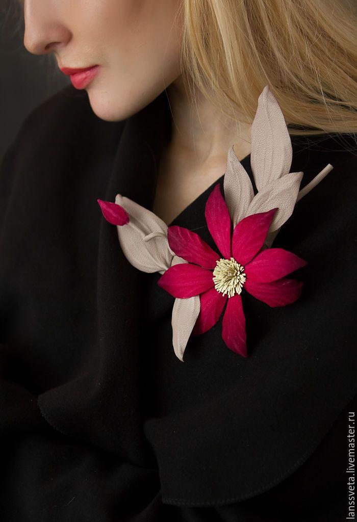 Flower Leather Brooch | Кожаная брошь-цветок