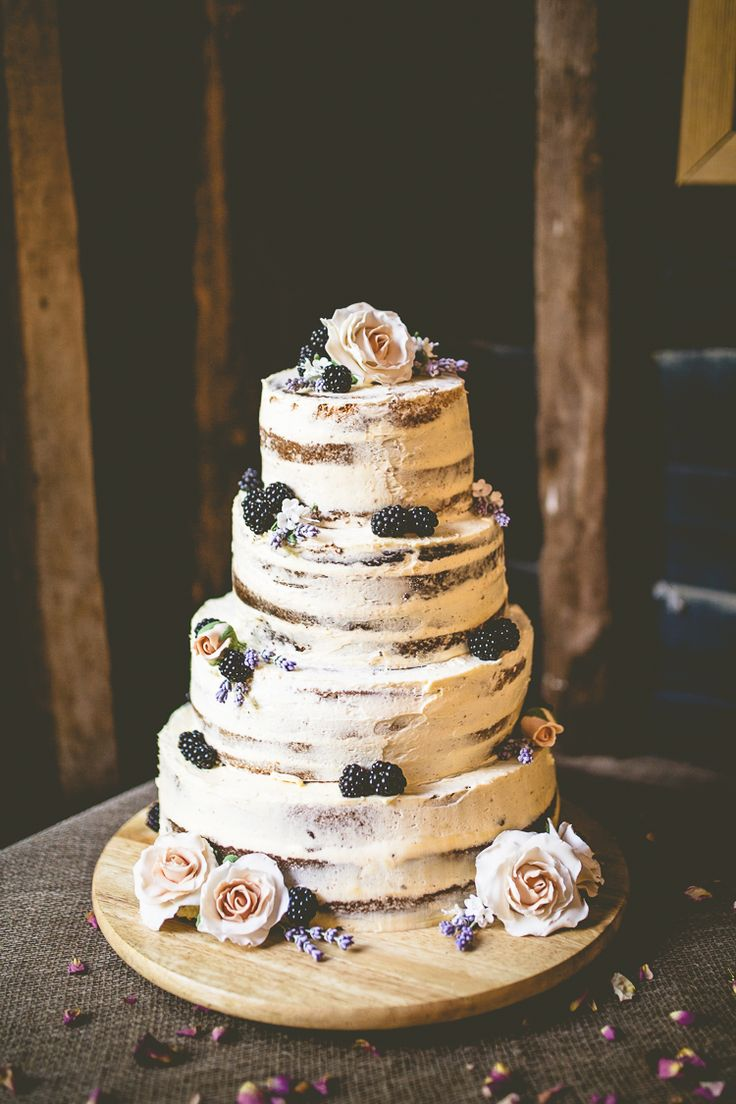 Naked Buttercream Cake Victoria Berries Layer Tower Rustic Bohemian DIY Barn Wedding http://lovethatsmilephotography.com/