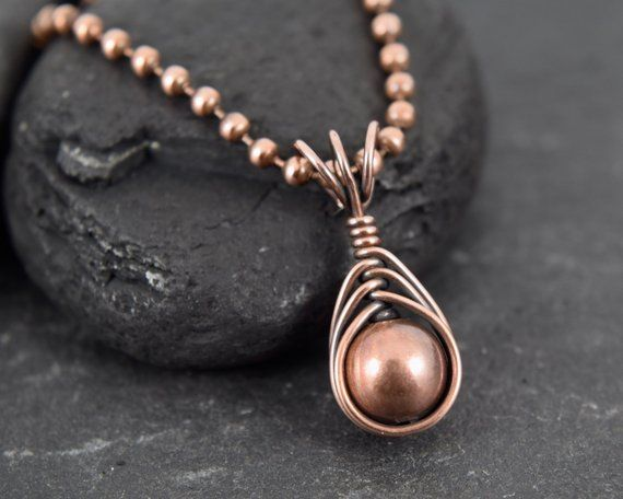 Copper and Wire Beaded Necklace