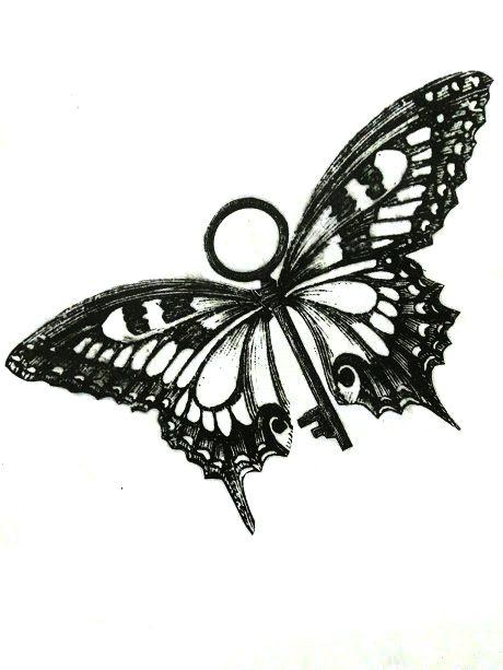 Fusión de mariposa + llave, representando la LIBERTAD