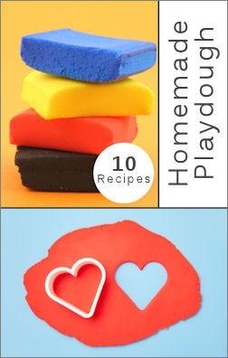 Play Dough Recipes: Craft, Fingerprint Recipes, Playdough Recipes, Homemade Playdough, 10 Homemade, Play Dough Recipes, Fingerpaint Recipes, Art