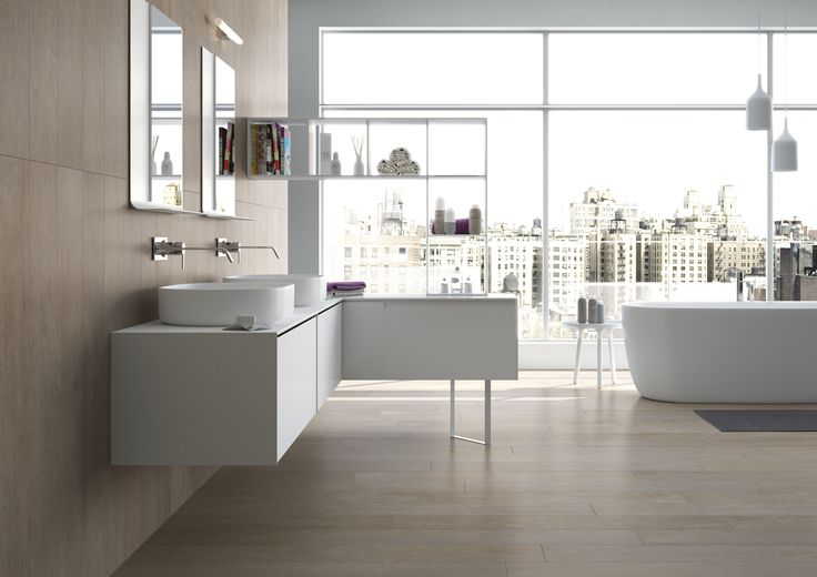 Amazing apartment bathroom using timber look porcelain tiles. Available at Signorino Tile Gallery.