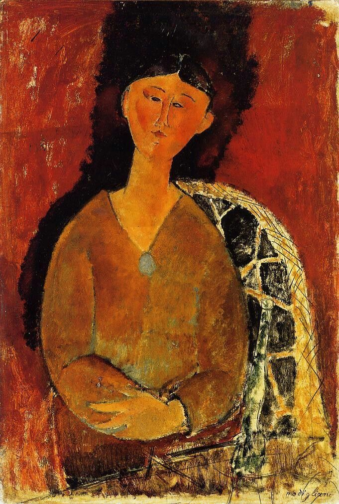 Beatrice Hastings, Seated by Amedeo Modigliani Medium: oil on canvas