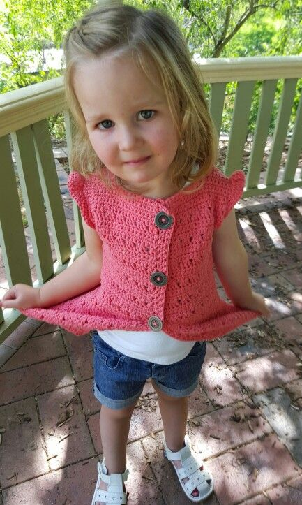 Crochet vest.  Mod of free jacket pattern: http://freevintagecrochet.com/childrens-clothes-patterns/laceys31/girls-crocheted-cardigan-pattern