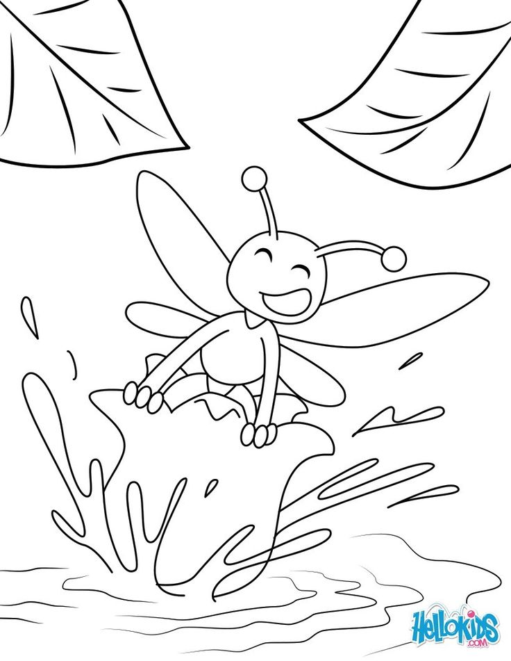 Color This Little Bee On A Lily Picture For Beautiful Springtime Perfect Coloring