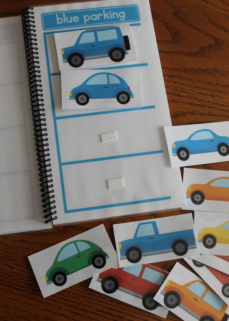 Create a transportation themed color sorting book for your preschooler or toddler.