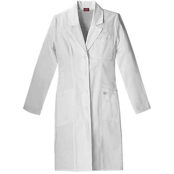 """Everyday Scrubs by Dickies Women's 37"""" Lab Coat ($27) ❤ liked on Polyvore featuring outerwear, coats, dickies coats, dickies and white coat"""