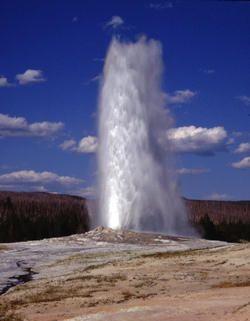 """Yellostone National Park's iconic """"Old Faithful"""" gyser."""
