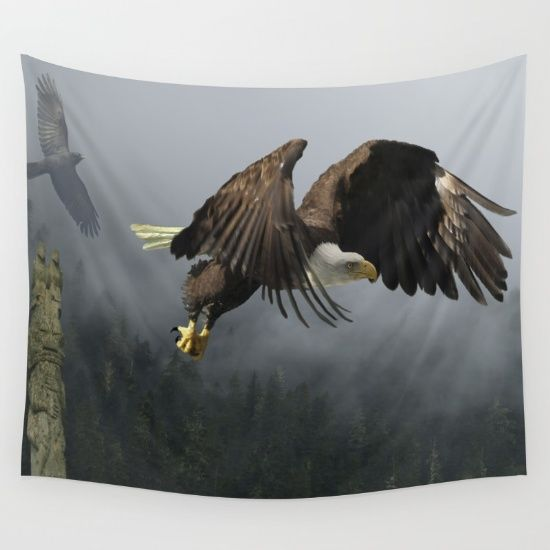 Vision Quest - Bald Eagle & Mists Available in three distinct sizes, our Wall Tapestries are made of 100% lightweight polyester with hand-sewn finished edges. Featuring vivid colors and crisp lines, these highly unique and versatile tapestries are durable enough for both indoor and outdoor use. Machine washable for outdoor enthusiasts, with cold water on gentle cycle using mild detergent - tumble dry with low heat.