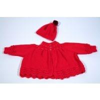 kiddysnest.gr -Χειροποίητο κόκκινο bebe ζακετάκι με σκουφάκι