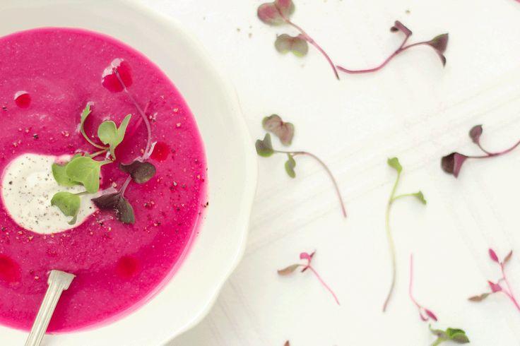 Sopa cor de rosa com rebentos ♥ GlutenFree com paixão