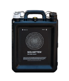 Solvatten is a household water treatment unit. The portable 11 liter container is a patented and scientifically proven Swedish invention. Put Solvatten in a sunny place, give it 2-6 hours and the water will be drinkable. An indicator shows when it is safe to drink. Solvatten can also be used as a solar water heater, providing hot water for cooking and hygiene.