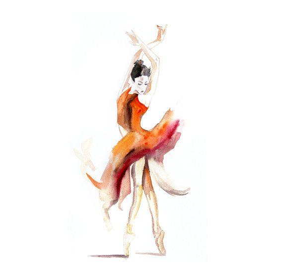 Ballet dance Ballerina ART PRINT 13X19 original watercolor painting illustration home wall decor modern contemporary reproduction poster