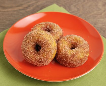 Pumpkin Spice Mini Donuts for a donut maker.  JUST MADE THESE.  They're sooo good except they do need a little more sugar in the recipe.  We covered ours in a dark chocolate glaze