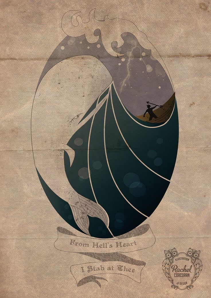 Moby Dick - (A3 Illustration) Whale / Sea / Storm Print. €22.00, via Etsy.