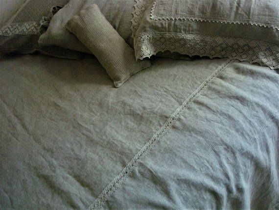 Linen COVERLET natural linen bedspread  Queen size blanket