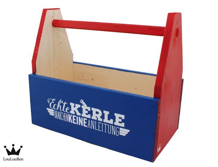 """Kisten & Boxen - Werkzeugkiste """"Echte Kerle brauchen keine Anleitung"""" aus Holz - ein Designerstück von LouLouBen bei DaWanda"""