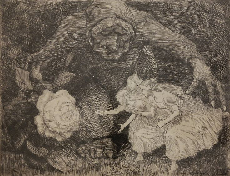 Erik Theodor Werenskiold - Troll and Three Princesses, illustration from Peter…