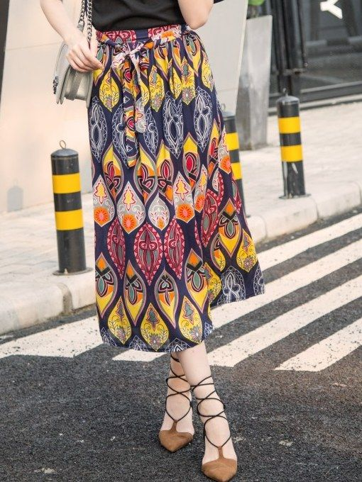 Bohemian Style Bowknot Printing Skirt _Long Skirts_Skirts_WHOLESALE CLOTHING_Wholesale clothing, Wholesale Clothes Online From China