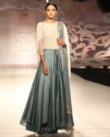 Blue Gray Anarkali Suit with Embroidered Bodice by Varun Bahl | India Couture Week 2014