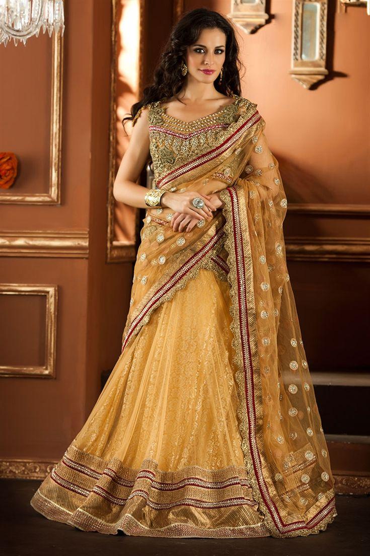 Designer golden net lehenga choli