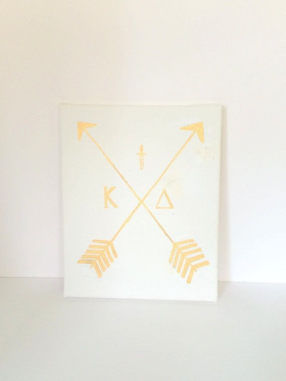 This sorority canvas is perfect as a gift for a sorority member or friend. This Kappa Delta Gold Arrow canvas makes the perfect wall decor for a