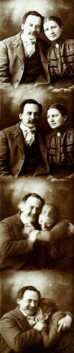 A Victorian couple trying not to laugh while getting their portraits done