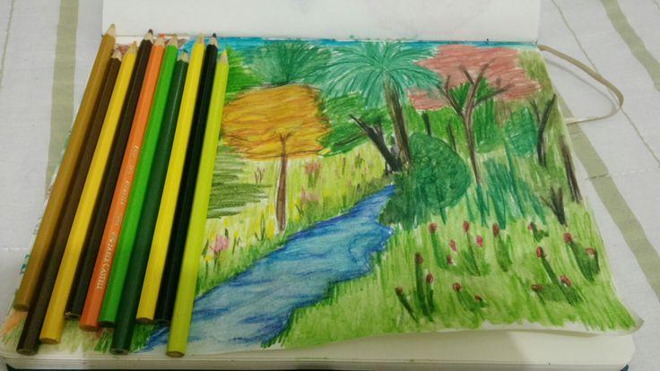 Primeiro desenho em aquarela!! Estudo de paisagem Arq.&.Urb. Doctum_JF