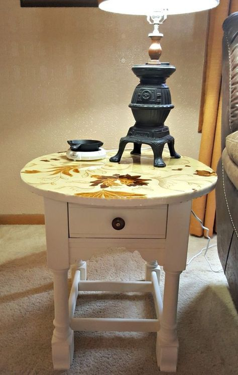 Side Table Makeover With A Fabric Covered Top and Epoxy Finish