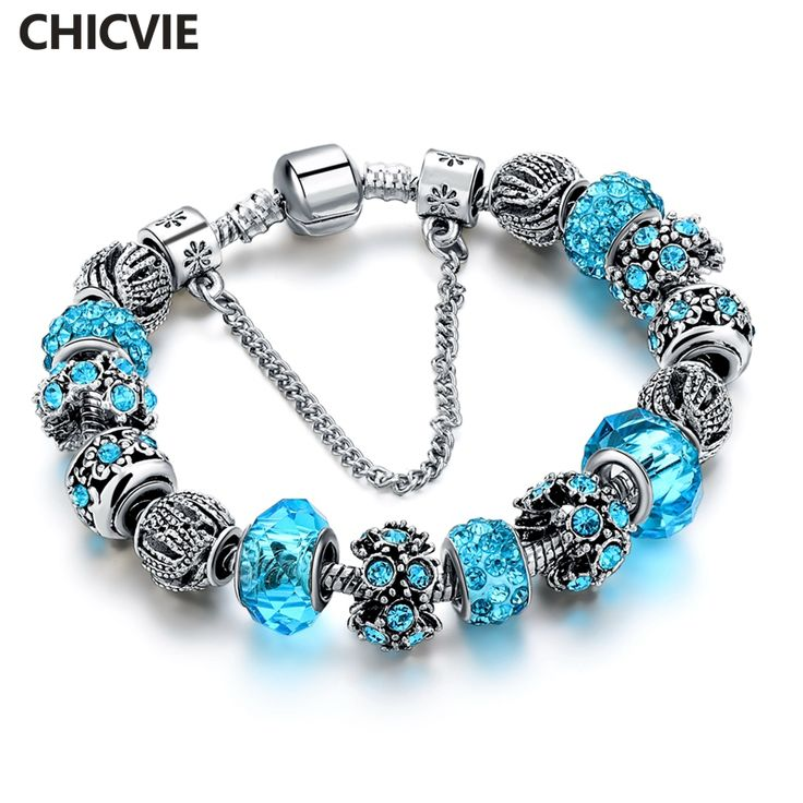 CHICVIE Blue Crystal Charm Bracelets & Bangles For Women Silver plated bracelet femme Wedding DIY Jewelry SBR160158