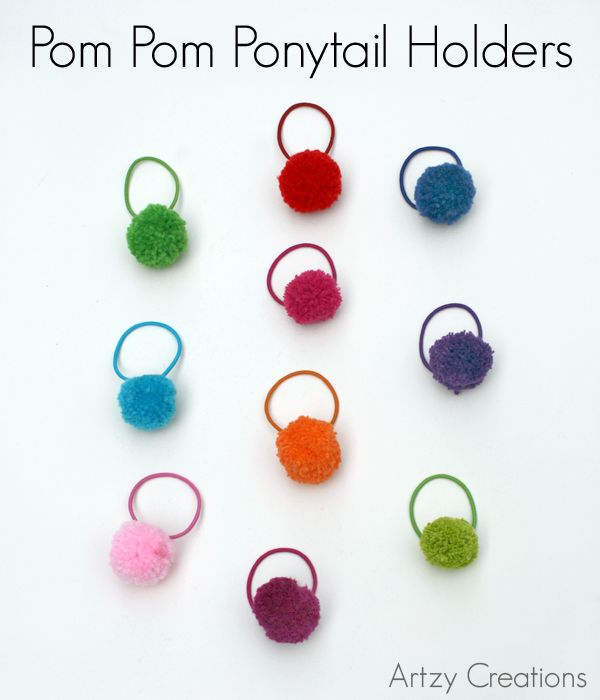 Super cute, simple, colorful and they hold hair too! Make your own Pom Pom Ponytail Holders.