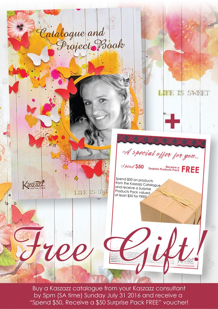 "Buy a Kaszazz Catalogue... Get a Voucher FREE!  Every 8848 Kaszazz Catalogue (RRP $9.95) purchased in July 2016 comes with a ""Spend $50, Receive a $50 Surprise Pack FREE"" voucher!  The voucher will expire Wednesday August 31 2016, and can only be redeemed with an independent Kaszazz consultant.     Please note boxes of 15 catalogues do not qualify for this offer. New Product Fliers are not supplied with catalogues - they must be purchased separately.  No vouchers! As with all specials and..."