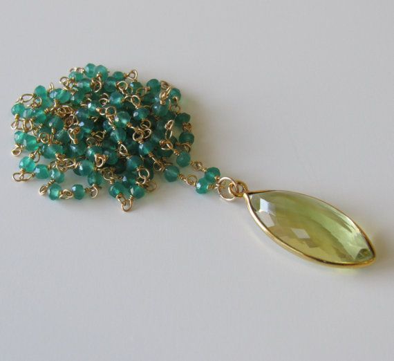 TOPAZ Necklace  African Green Onyx Necklace  Lemon by BBTresors