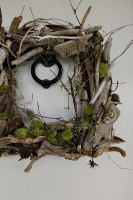 driftwood & moss wreath  <3 <3 - I would use it as a frame or something other than a wreath.