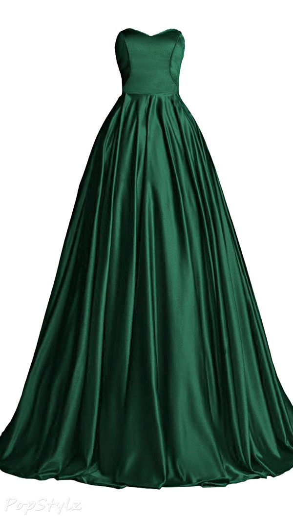 Sweetheart Satin Evening Gown with Train