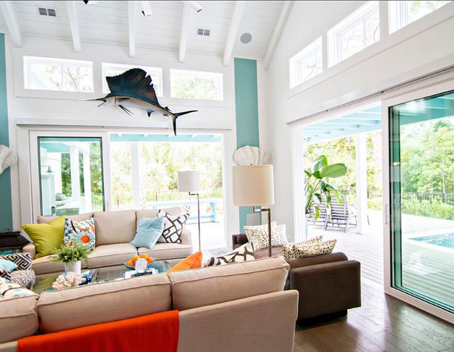 Transitional Living Room With Coastal Vibe And Blue: Transitional Beach House