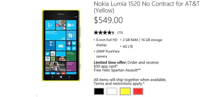 Not So Free Nokia From Microsoft Nokia 1520 is not free anymore it's now $549 off contract