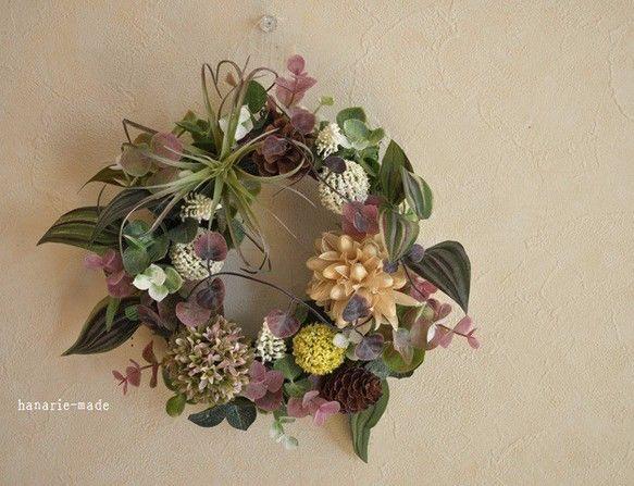 オーダー Uさま エアプランツ・チスパ&ハートカズラ(20㎝):wreath