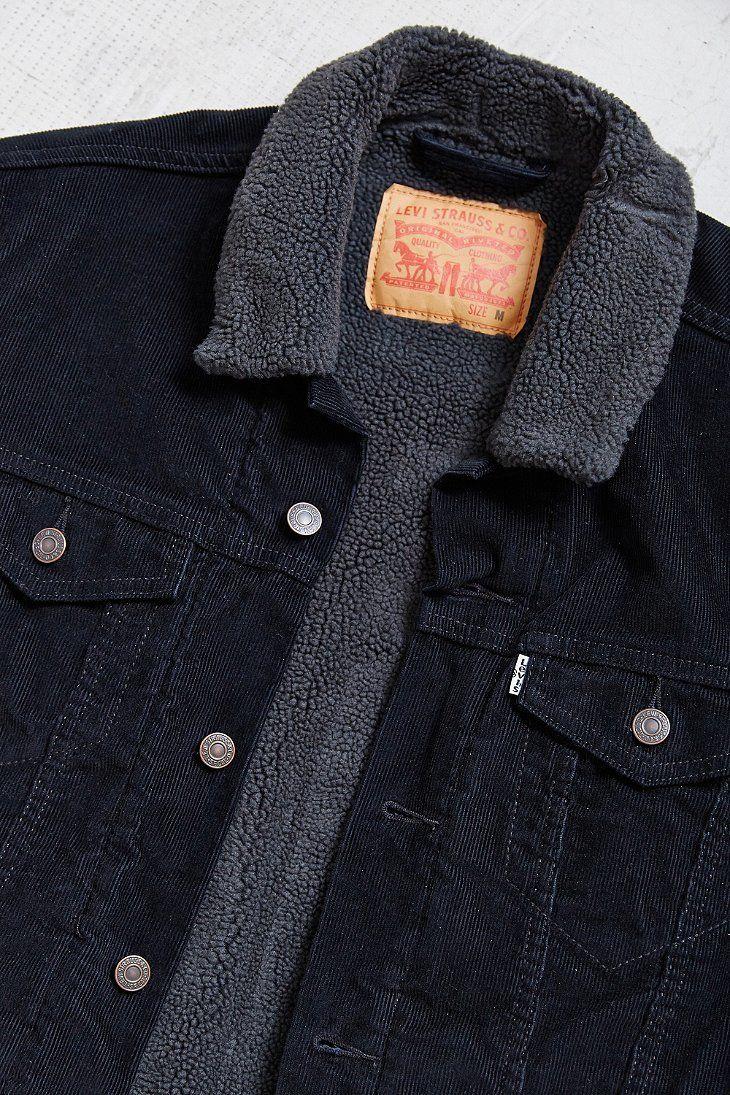 Levi Black Corduroy Sherpa Jacket Menswear, Trucker