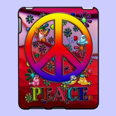 $59.95 iPad Covers; Modern Retro Peace Sign Text Birds & Flowers II  The Word Peace, Modern Retro Vibrantly Colored Rainbow Gradient Faux 3-D Peace Sign, Birds & A Blue & Lavender Butterfly Colorful Floral Design. Done as traditional artwork, then completed & given faux metallic textures, using Adobe Photoshop CS2.
