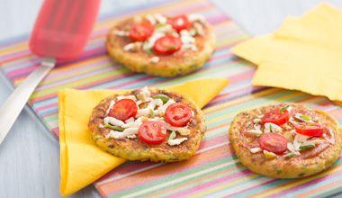 Aprenda essa receita de pizza de massa de mandioquinha e Leite em pó NINHO® Levinho com queijo minas, tomate cereja e azeitona verde.